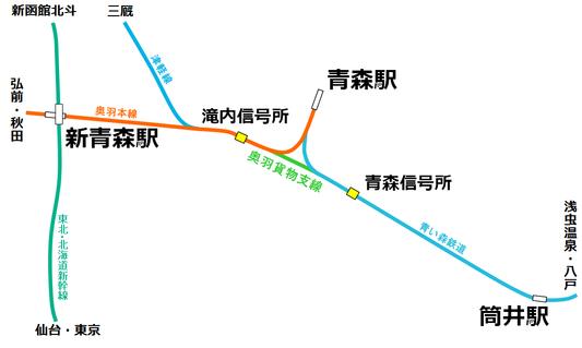 青森駅周辺路線図
