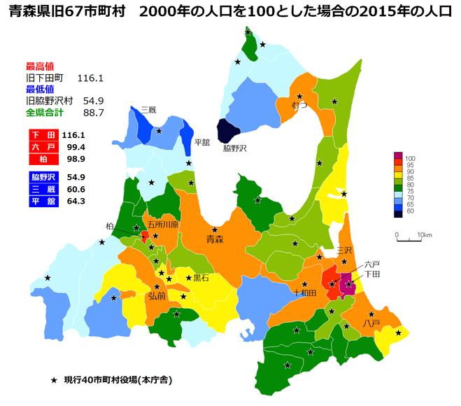 青森県旧67市町村2000年人口比