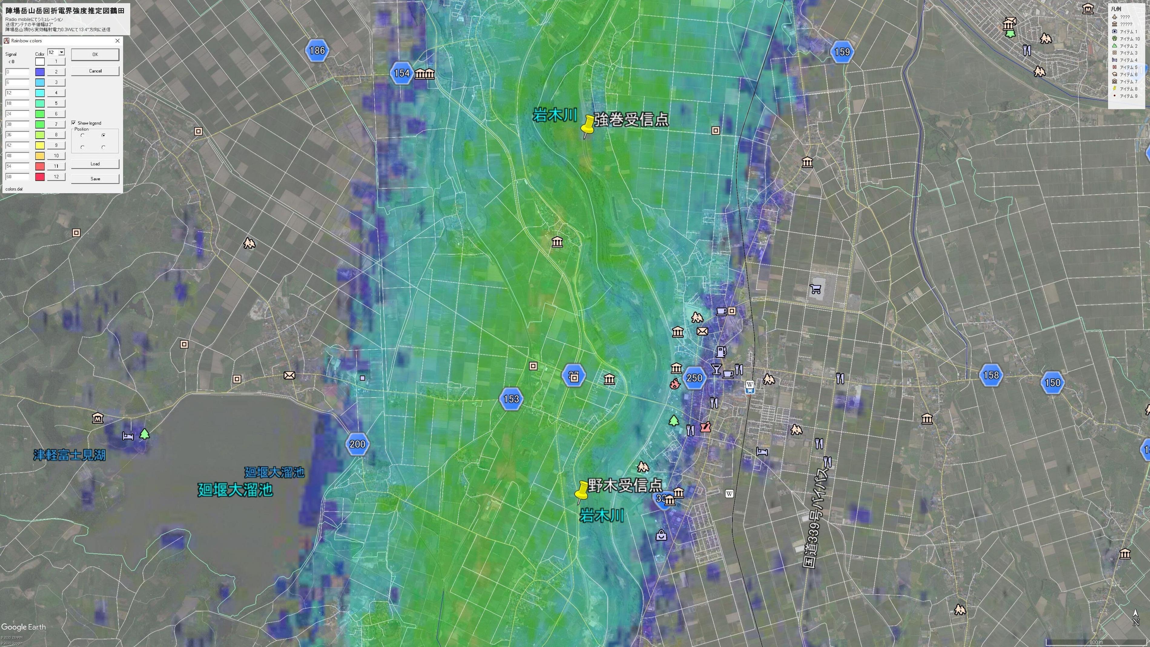 陣場岳山岳回折推定電界強度図(鶴田)