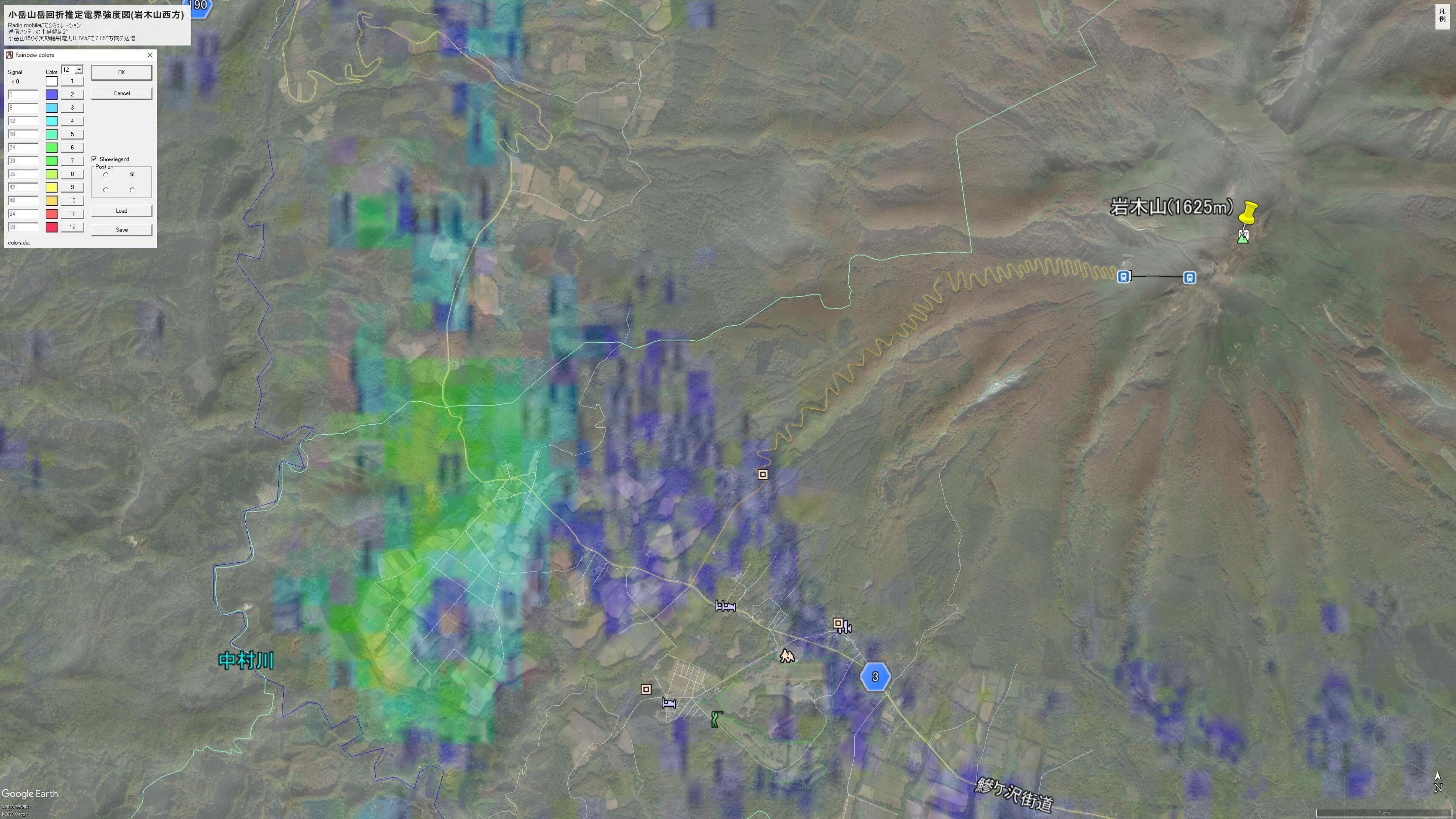 小岳山岳回折推定電界強度図(岩木山西方)