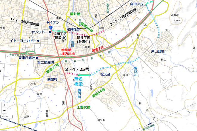 青森市南部道路妄想図