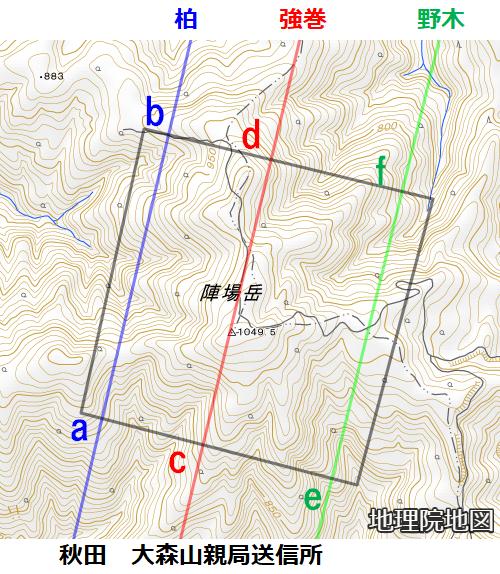 陣場岳周辺3本直線