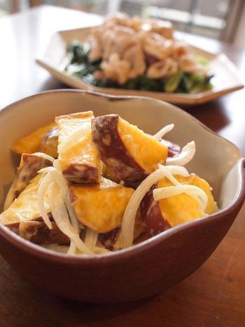 さつまいもの辛子マヨネーズ和え&小松菜の豚しゃぶのっけ。