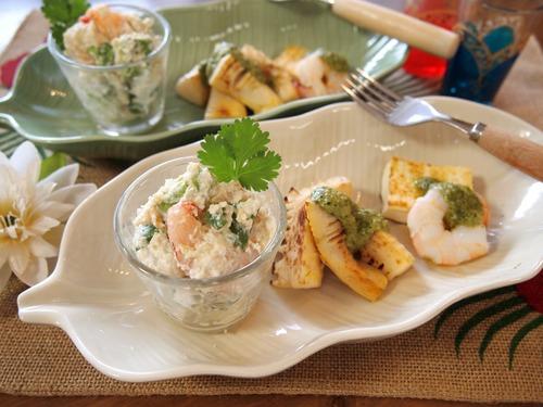 海老とアボカドのアジアン白和え&焼き筍と豆腐のルッコラソース。