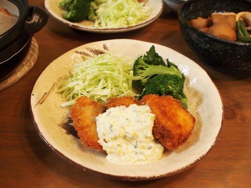 秋鮭のフライ~タルタルソース~&里芋とイカの煮物。