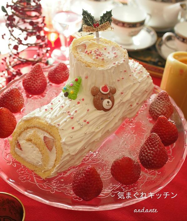 クリスマスに♪ いちごの白いブッシュドノエル。