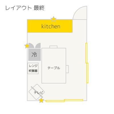 間取り図追加【2DKのキッチンレイアウト問題・解決編】ポイントは冷蔵庫の向き