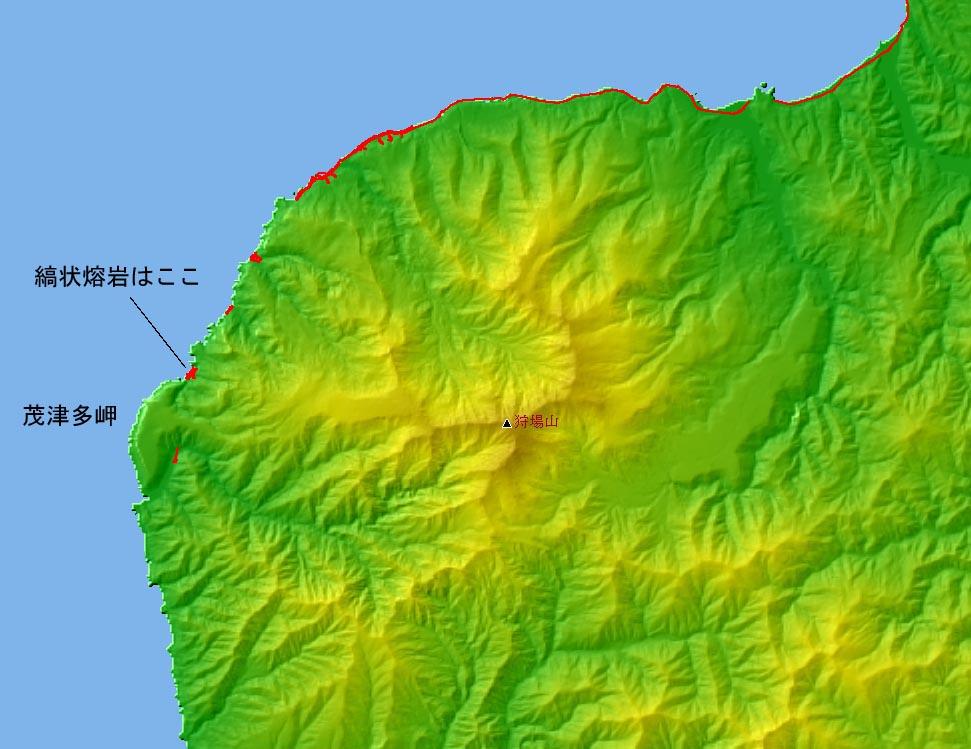 茂津多岬の縞状熔岩