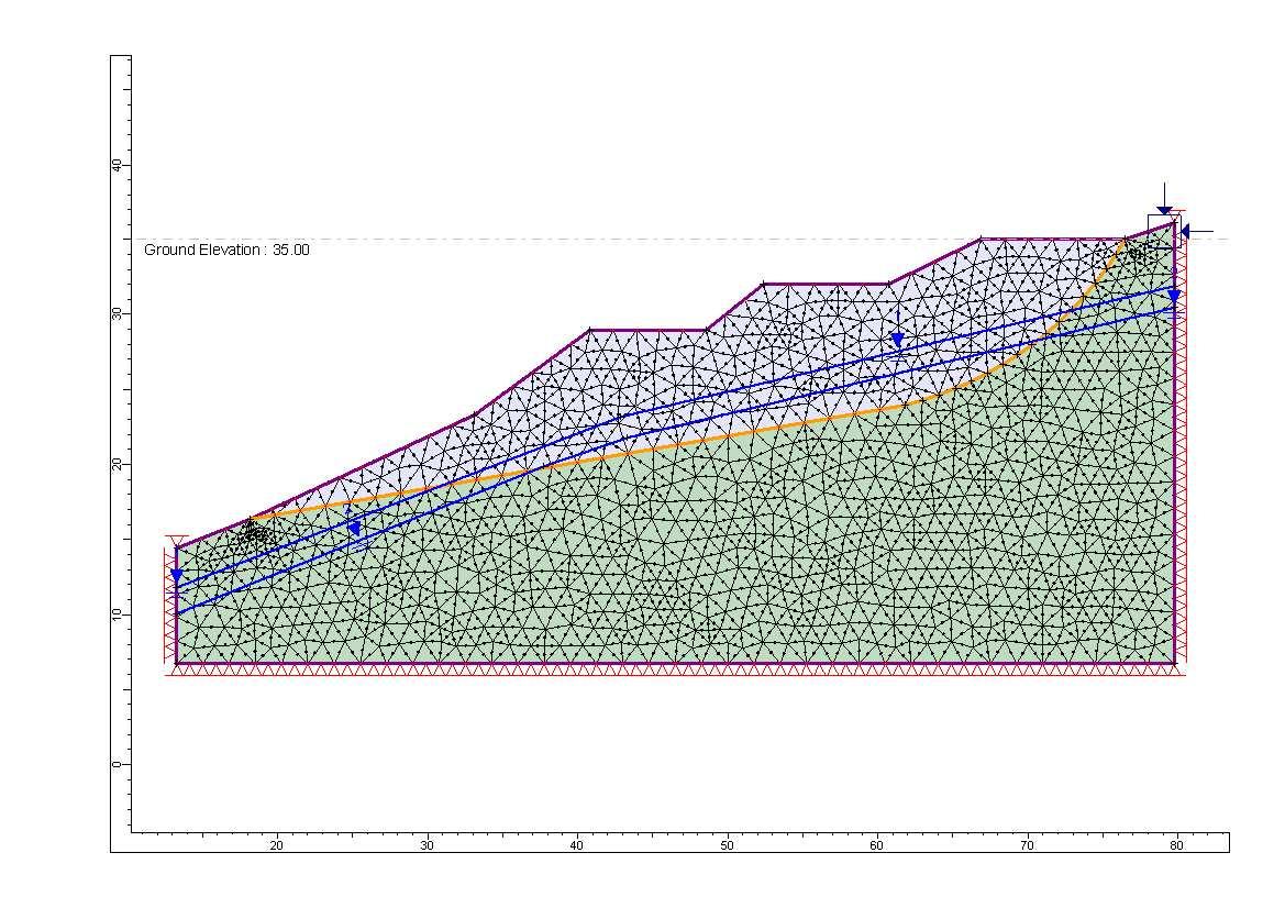地すべりの例1-すべり面形状が既知の例