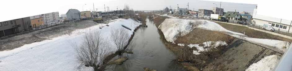 新川の堤防で