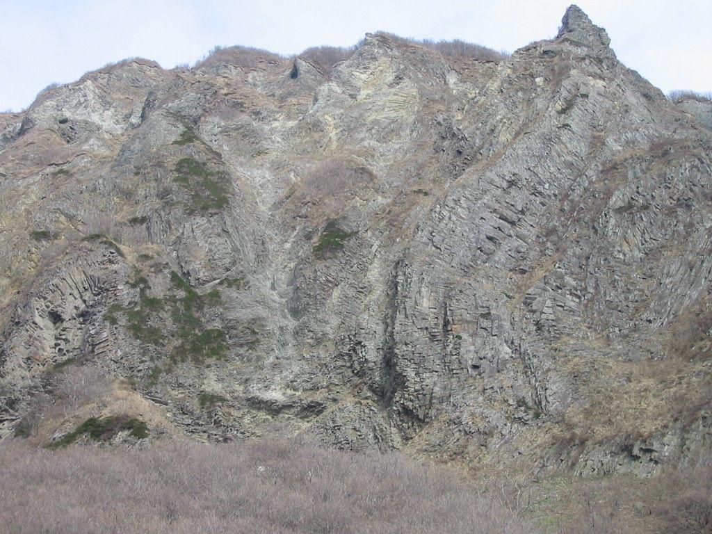 積丹トンネル出口付近のColumnal Jointの大露頭