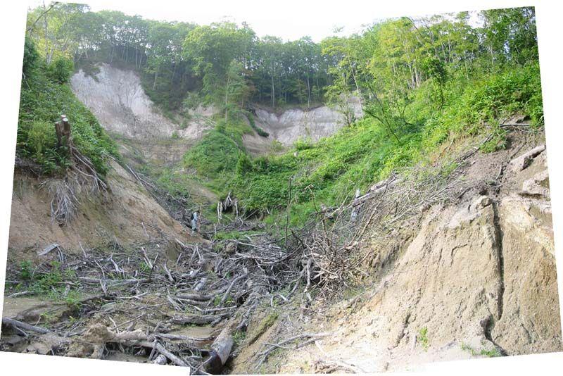 人口稀薄な土地の斜面崩壊