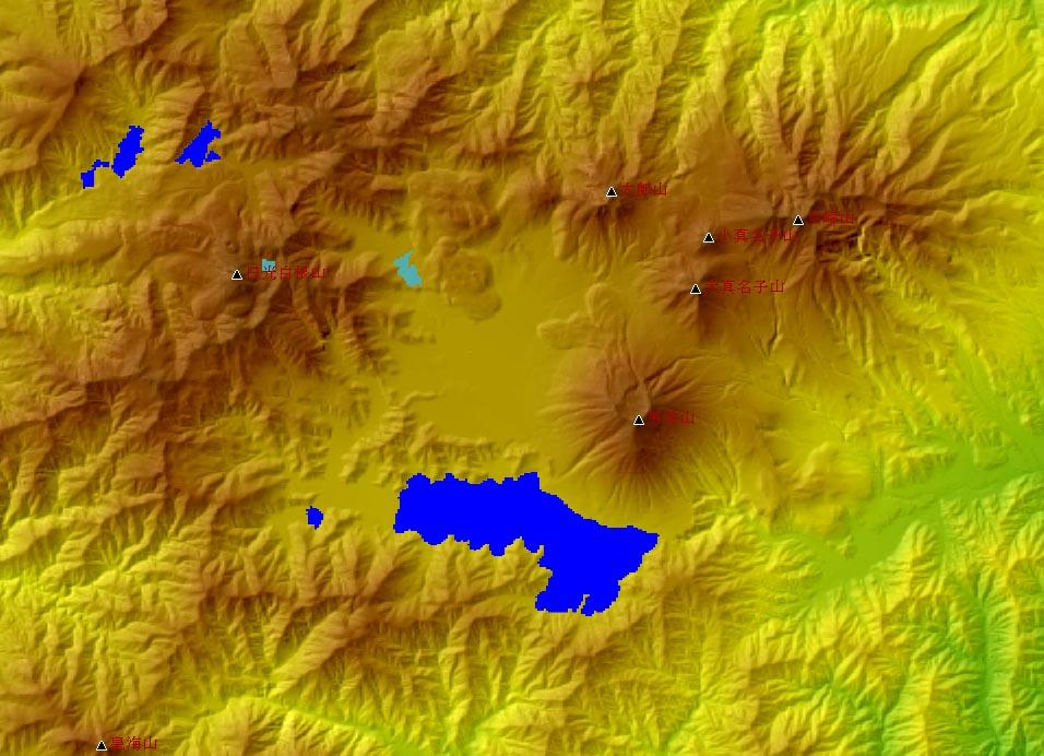 カシミール3Dで見る火山など