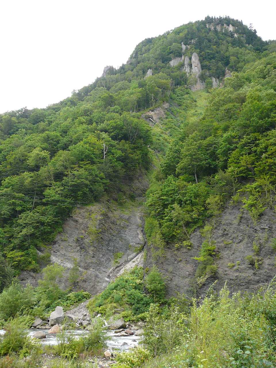 層雲峡の崖錐斜面