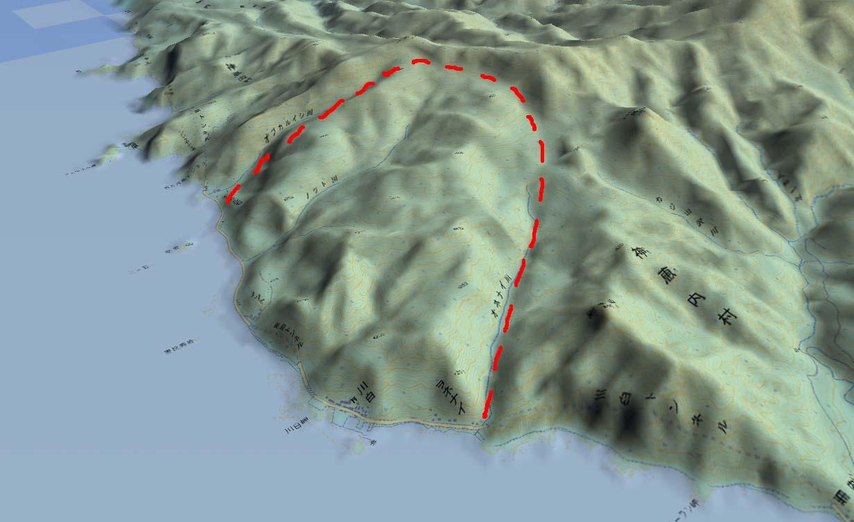 積丹半島の川白の山体崩壊