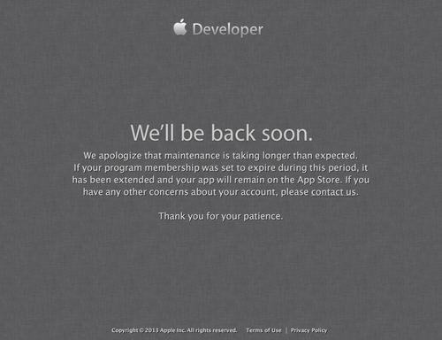 We'll be back soon - Apple Developer (20130720)
