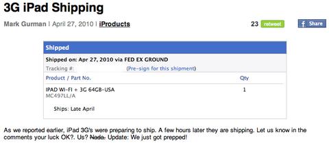 3G iPad Shipping