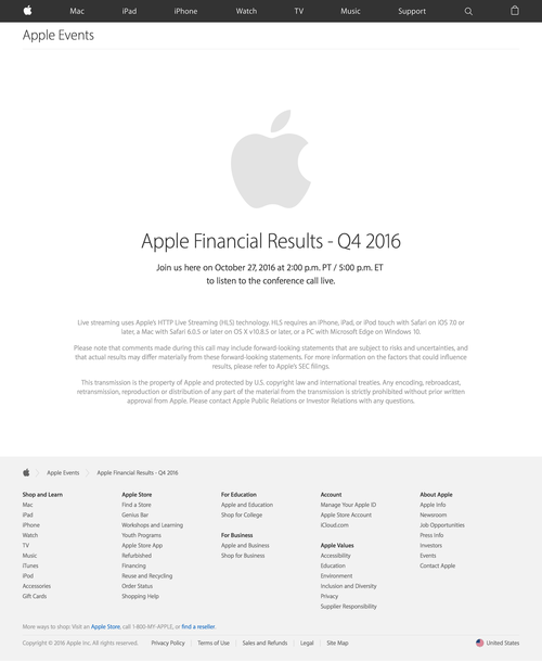 Apple Earnings Call - Apple (20160927)