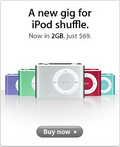 Apple new gig for iPod shuffle Now in 2GB, just $69.