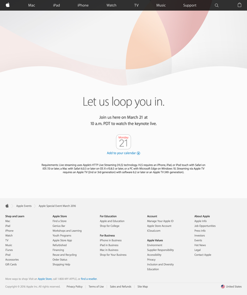 Apple Event - Keynote March 2016 - Apple (20160311)