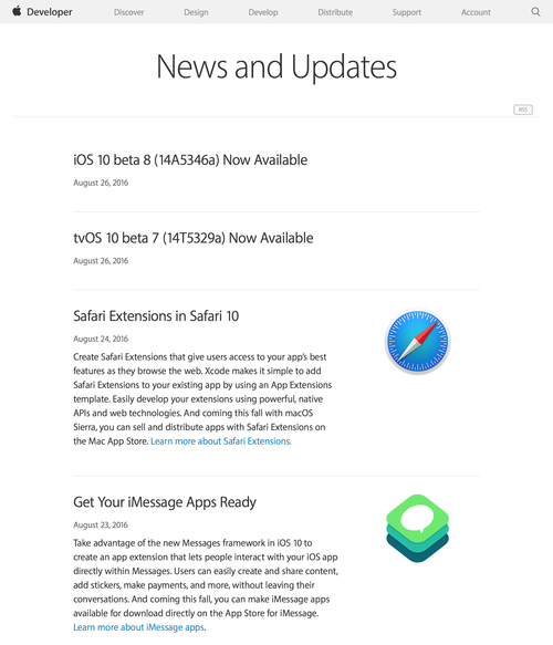 News and Updates - Apple Developer (20160827)