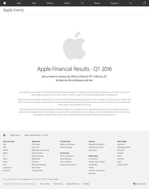 Apple Earnings Call - Apple (20160105)