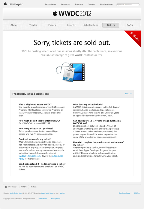 Tickets - WWDC - Apple Developer (20120425)