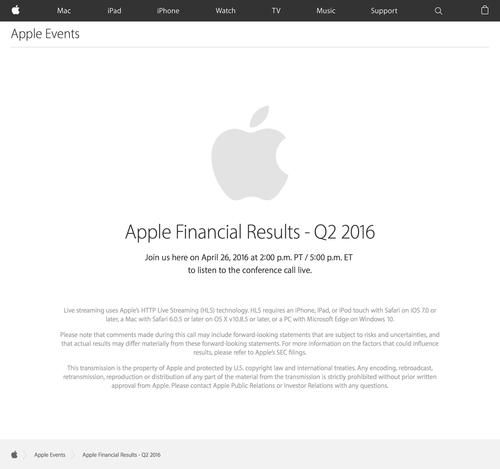 Apple Earnings Call - Apple (20160421)