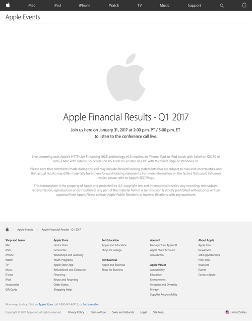 Apple Earnings Call - Apple (20170105)