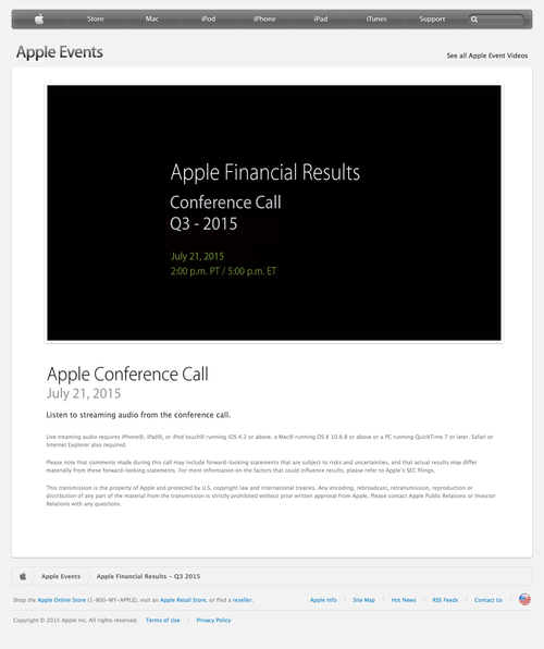 Apple - Apple Financial Results - Q3 2015 (20150630)