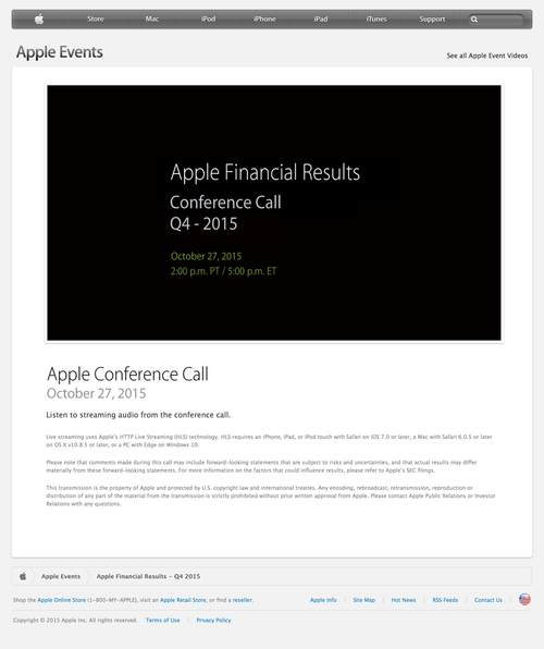 Apple - Apple Financial Results - Q4 2015 (20150929)