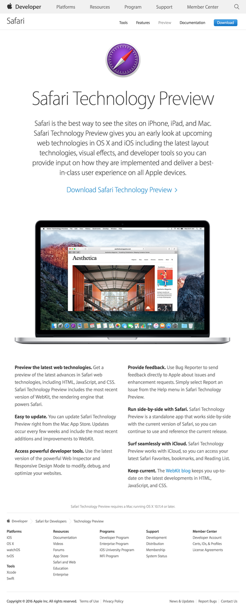 Safari Technology Preview - Apple Developer (20160331)
