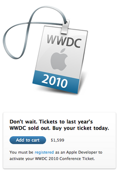 WWDC 2010 Conference Ticket
