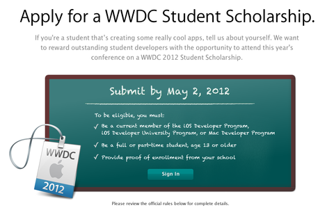 Scholarships - WWDC - Apple Developer (20120425)
