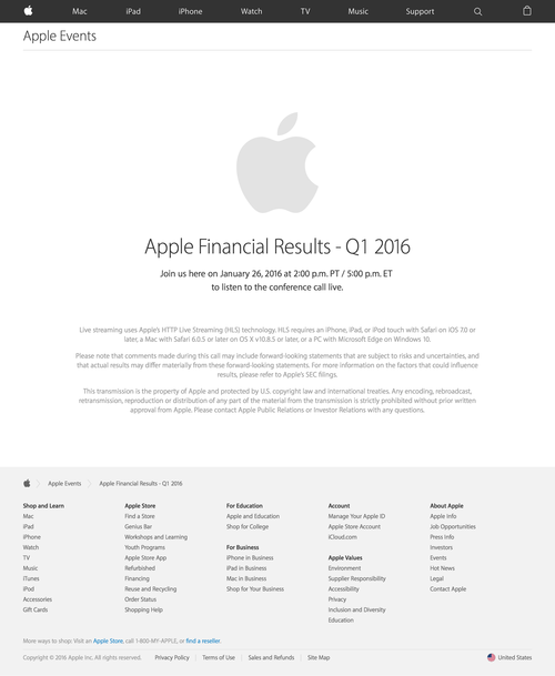 Apple Earnings Call - Apple (20160127)