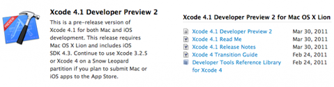Xcode 4.1 Dev Preview 2