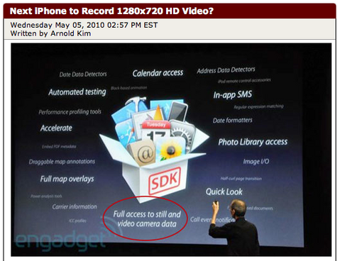 Next iPhone to Record 1280x720 HD Video?