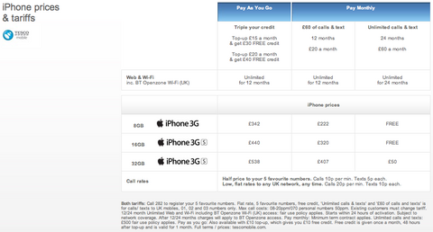 Tesco Mobile - iPhone prices & tariffs