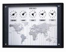 SEIKO CLOCK (セイコークロック) ワールドタイム掛置時計(黒色) KX612K KX612K