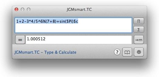 Type Calculate JGMsmart Hero