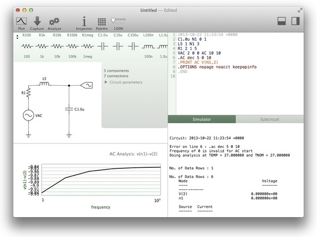 Mac用回路シミュレータVoltで作ったRLC回路