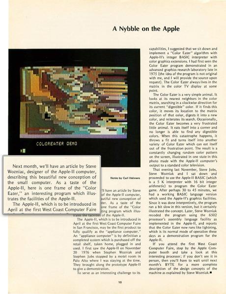 ウォズニアック寄稿記事予告 Byte誌1977年4月号2