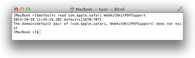 Safari WebKitOmitPDFSupportをチェック