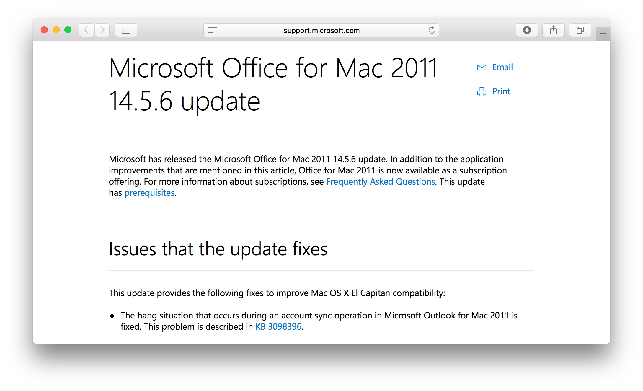 microsoft office for mac os x 10.11