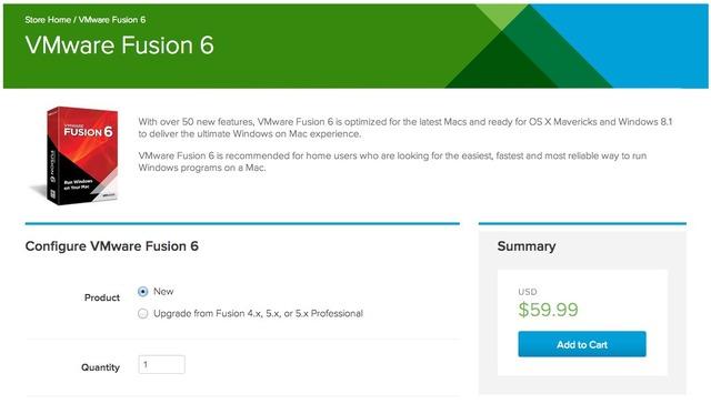 VMware Fusion 6は59USDから