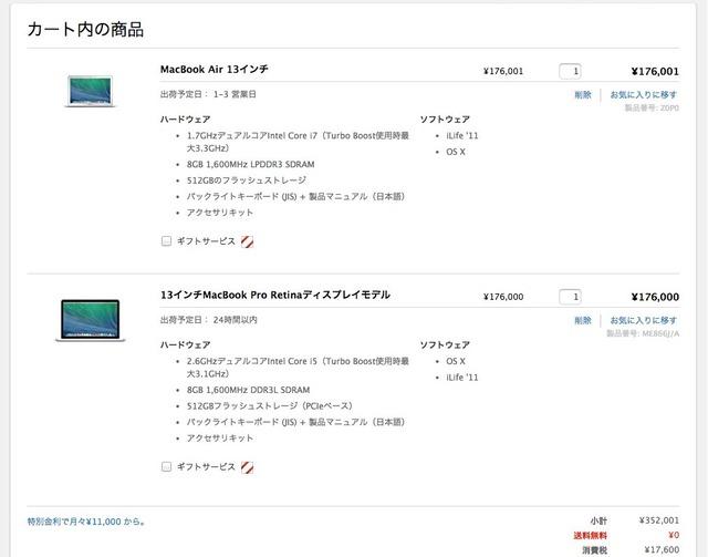 MacBookAir13インチと13インチMacBookProRetinaの銅価格比較