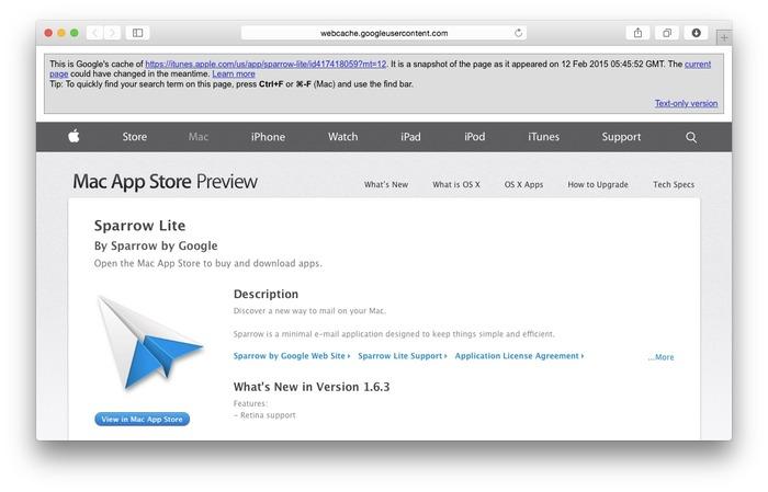 MacAppStore-SparrowLite-Google-Cache