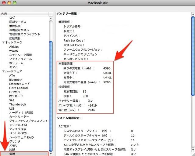 MacBookのバッテリー情報確認法