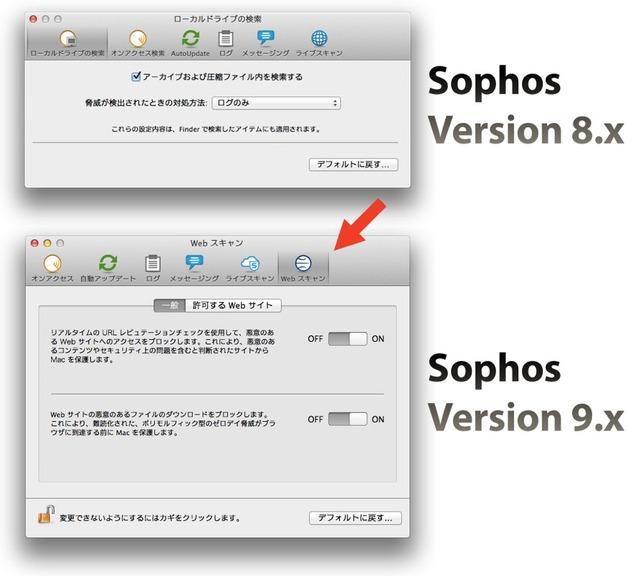 Sophos9のWebスキャン機能